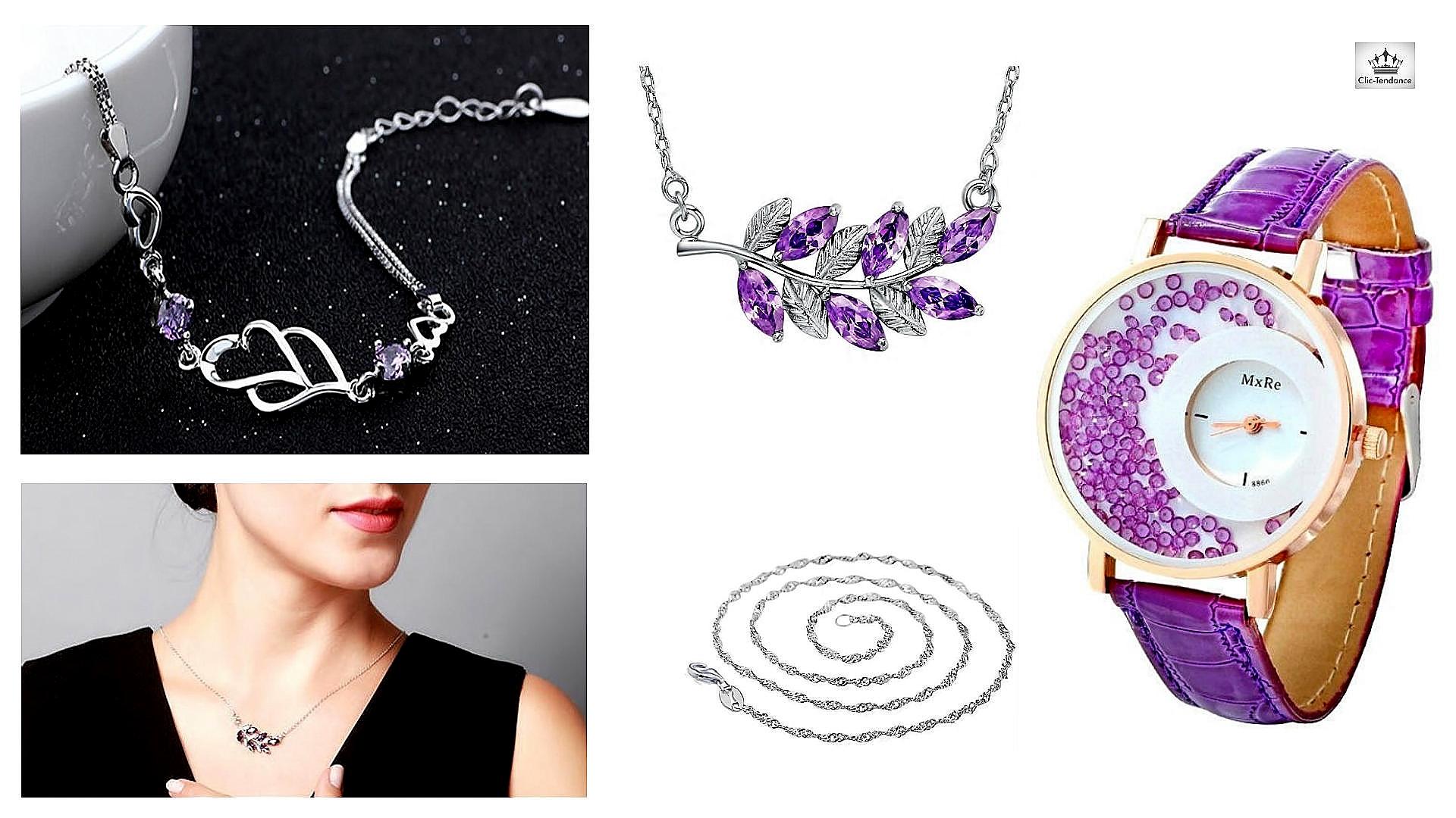 Bijoux Argent et Cristal violet - Montre femme Tendance et Originale