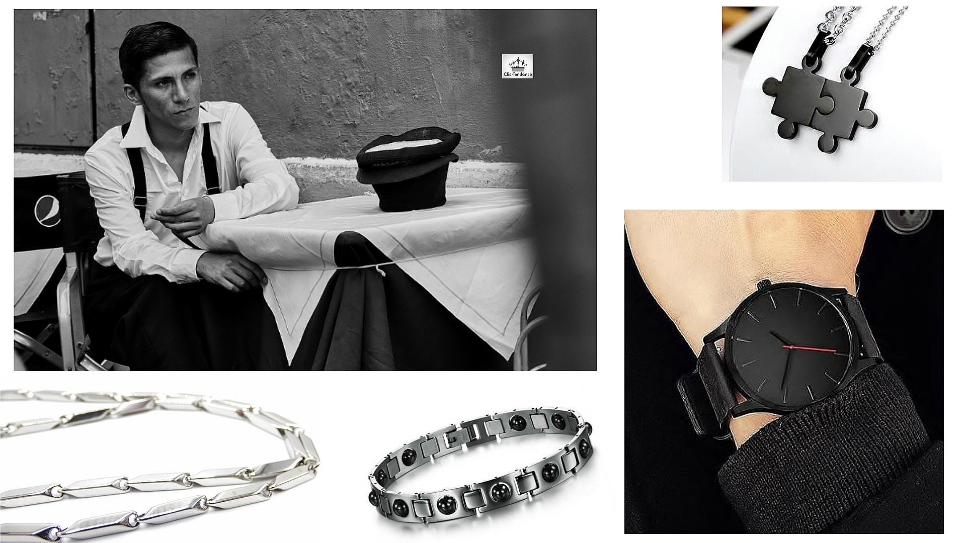 accessoires homme - montre tendance et bijoux de style en acier inox ou argent