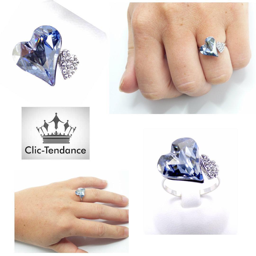 bague ajustable coeur cristal bleu swarovski