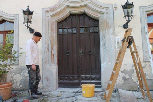 Vorarbeiten Eingangsportal 2019, Schloss Heynitz, Foto: Eike von Watzdorf