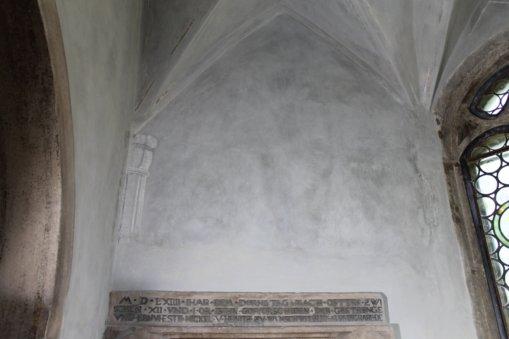 Seitenwand Schlosskapelle heynitz nach sanierung, 2016, Foto: Eike von Watzdorf