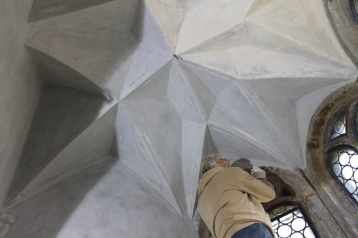 Retuschierarbeiten Schlosskapelle Heynitz, 2016, Foto: Eike von Watzdorf