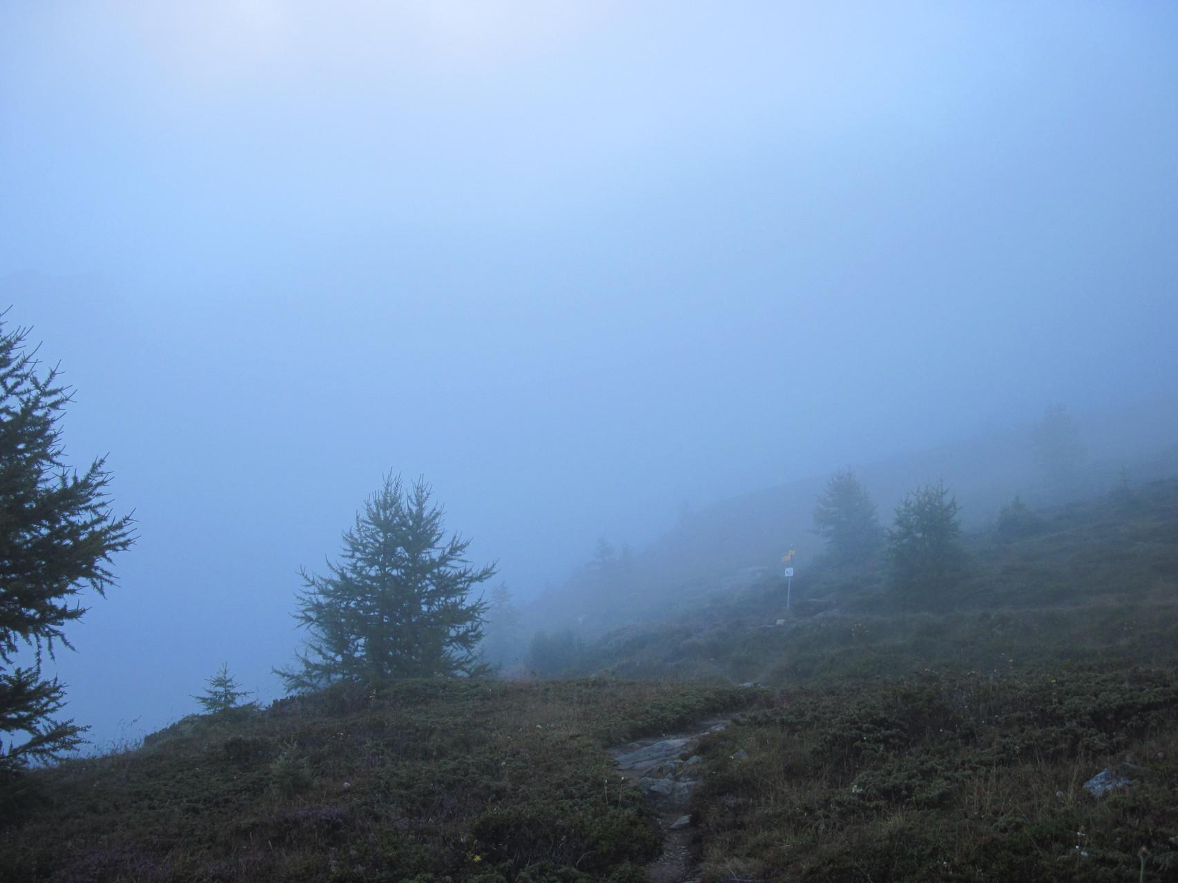 Nebel beim Start auf dem Simplonpass