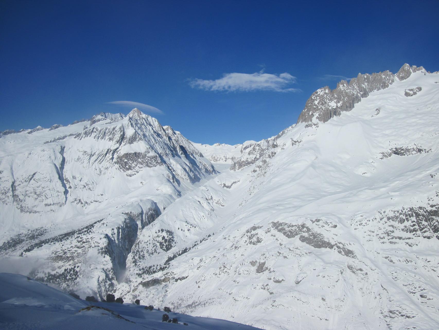 von links: Sparrhorn, Oberaletschgletscher, Fusshörner