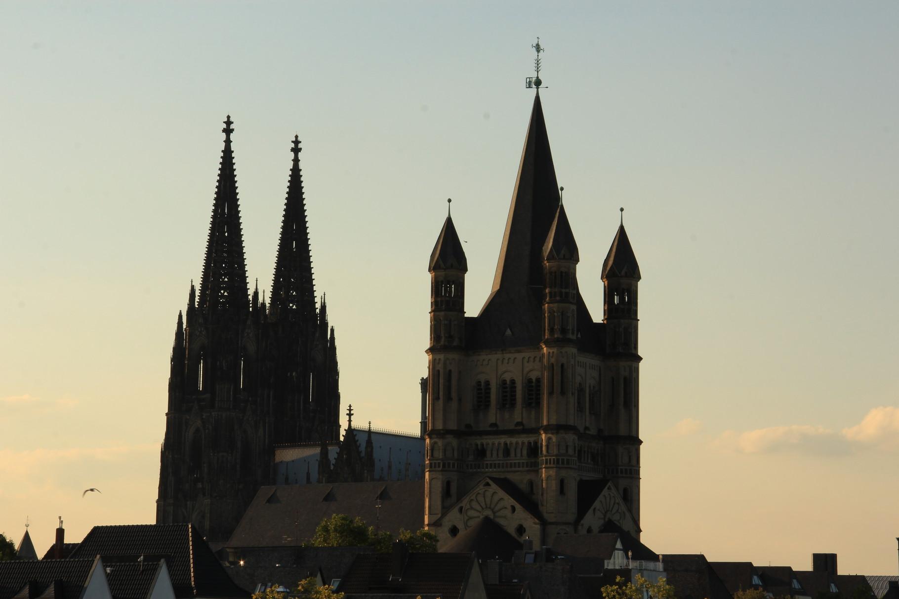 """""""Mittelalter""""-Panorama mit Kölner Dom & Groß St. Martin wie vom Rhein aus gesehen..."""