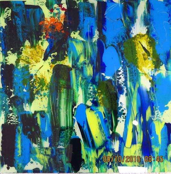 o.T. 4, Acrylfarbe hinter Glas, 50x50cm