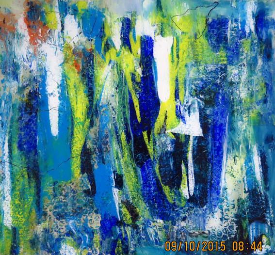 o.T. 1, Acrylfarbe hinter Glas, 45x45 cm