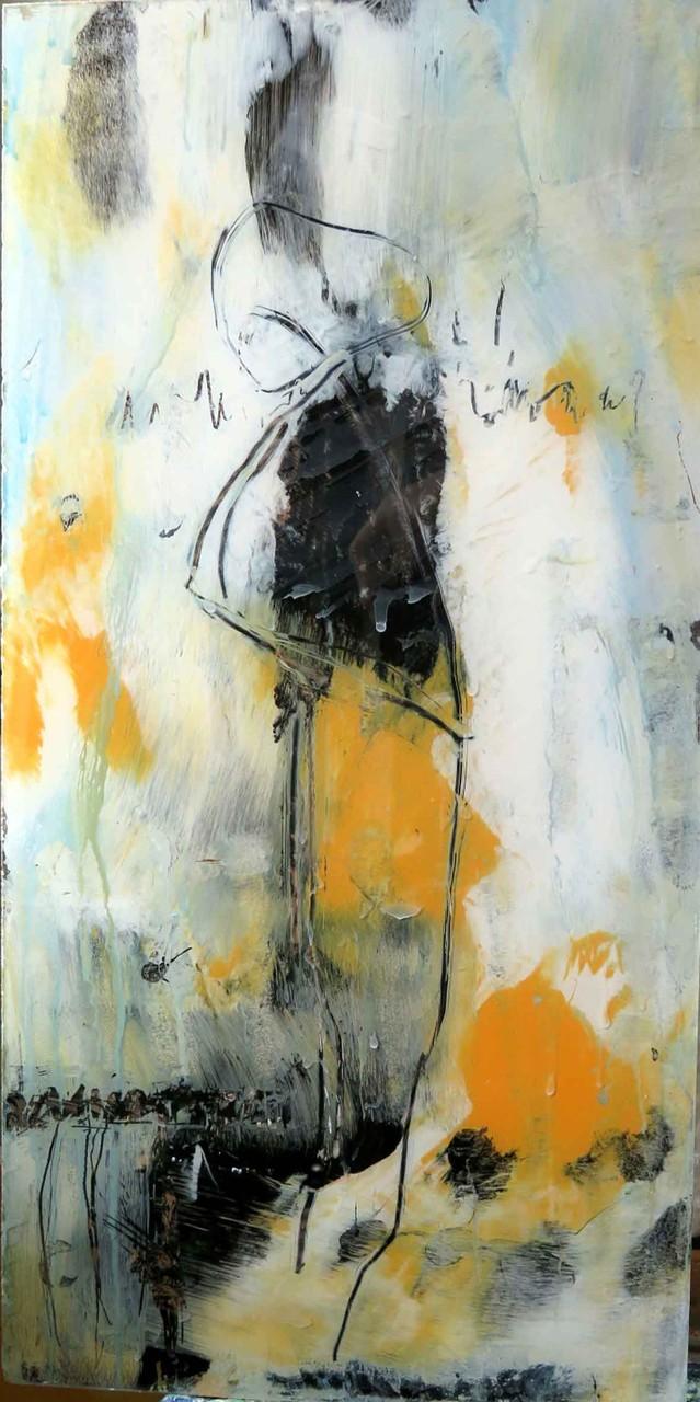 o.T. 22, Acrylmalerei hinter Glas, 50 x 25 cm, verkauft