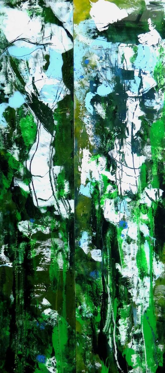 Diptychon grün, 152x23cm  und 152x30cm