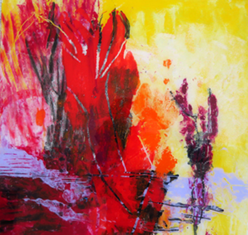 o.T.,Acrylmalerei hinter Glas,  40x42 cm