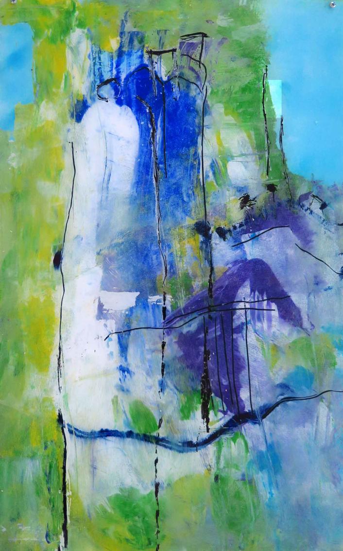 o.T. 27, Malerei hinter Glas,70x40 cm