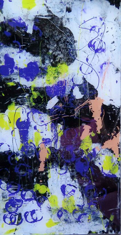 o.T. 24, Acrylmalerei hinter Glas, 50x25cm