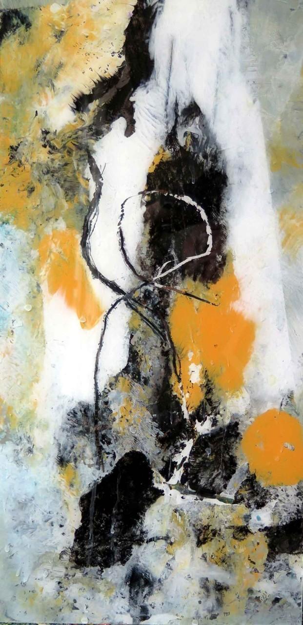 o.T. 23, Acrylmalerei hinter Glas, 40 x 25 cm