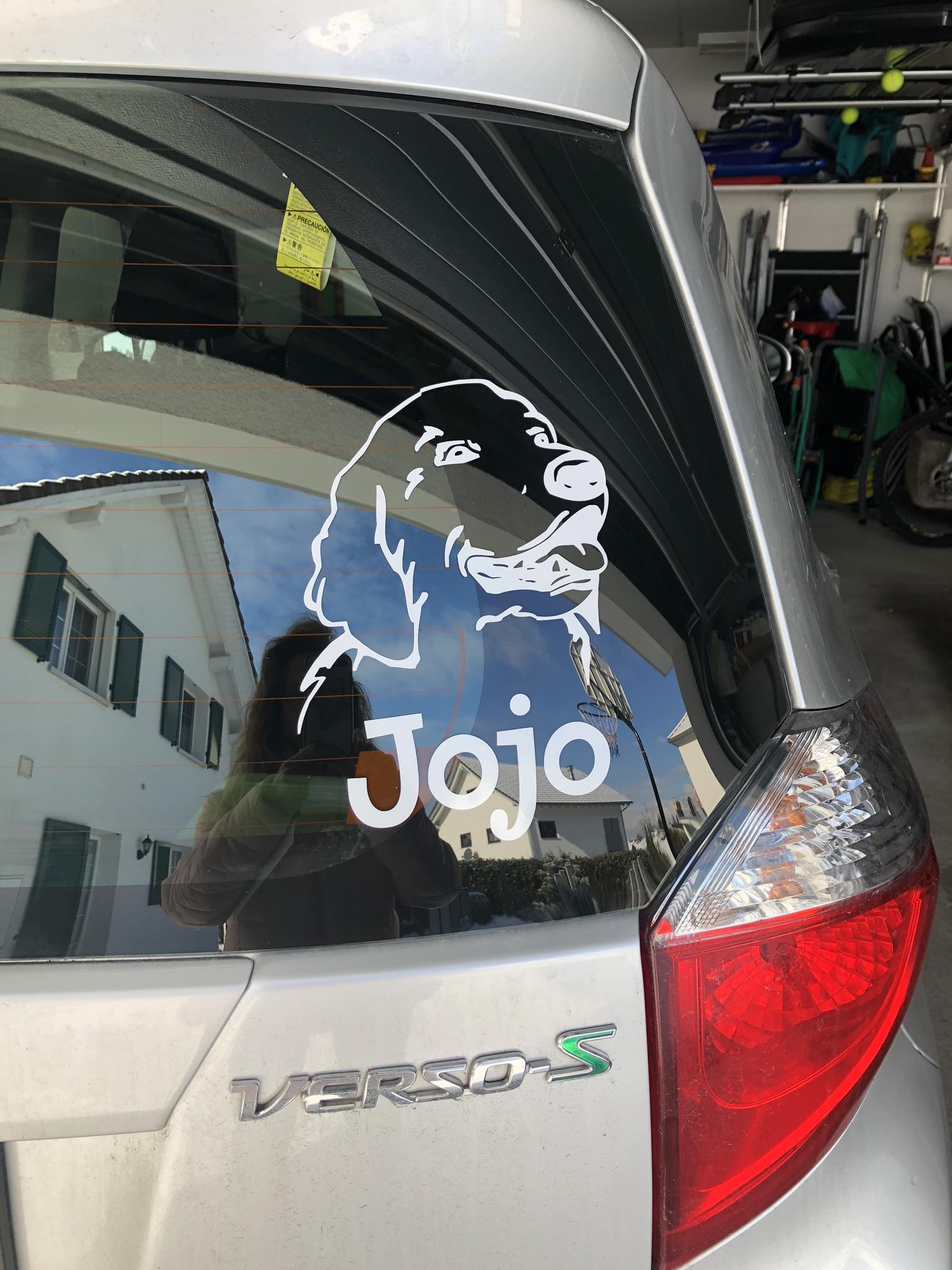 Damit alle wissen, dass ich im Jojo-Mobil sitze...