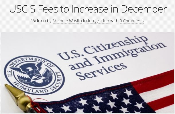 USCIS Fees to Increase in December 2016