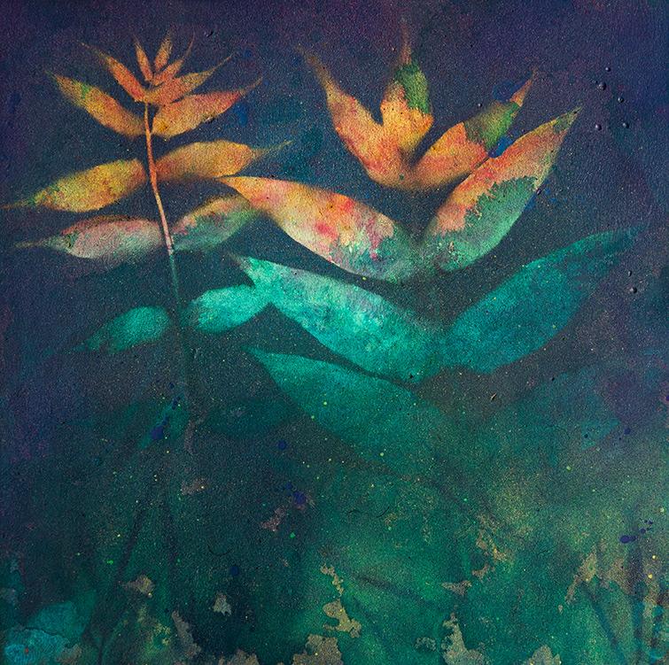 Abstraktes Kunst Gemälde mit floralen Elementen