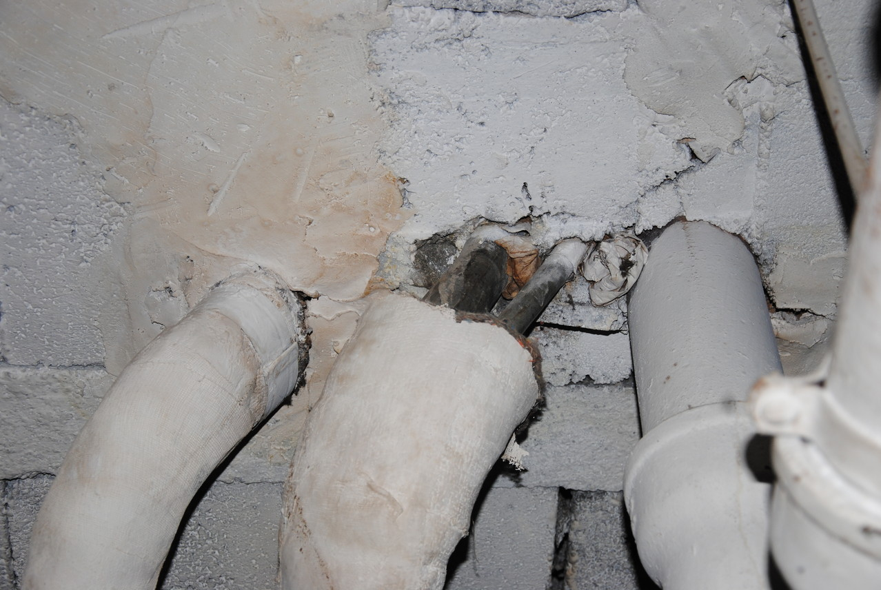 Point de pénétration des colonnes depuis le sous sol
