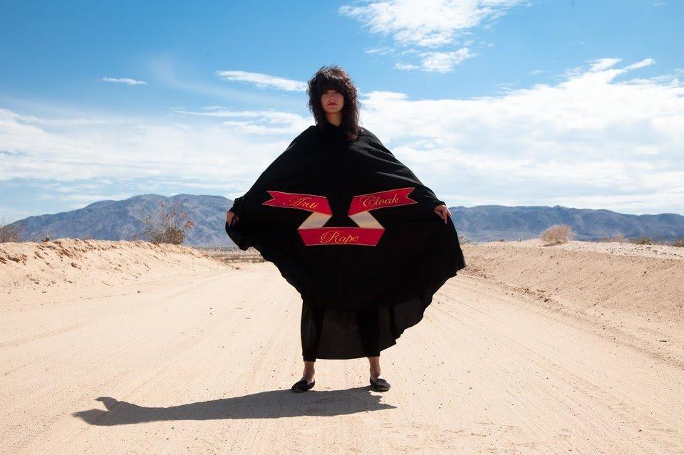 Sarah Maple wearing the Anti-Rape Cloak. Photo courtesy Sarah Maple.