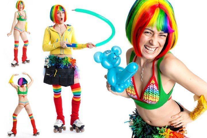 Sarah Stylisms entertainment adult sexy balloons rollerskates
