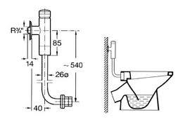 Cotas fluxor Aqualine para inodoro