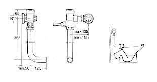 Cotas fluxor para inodoro GEM