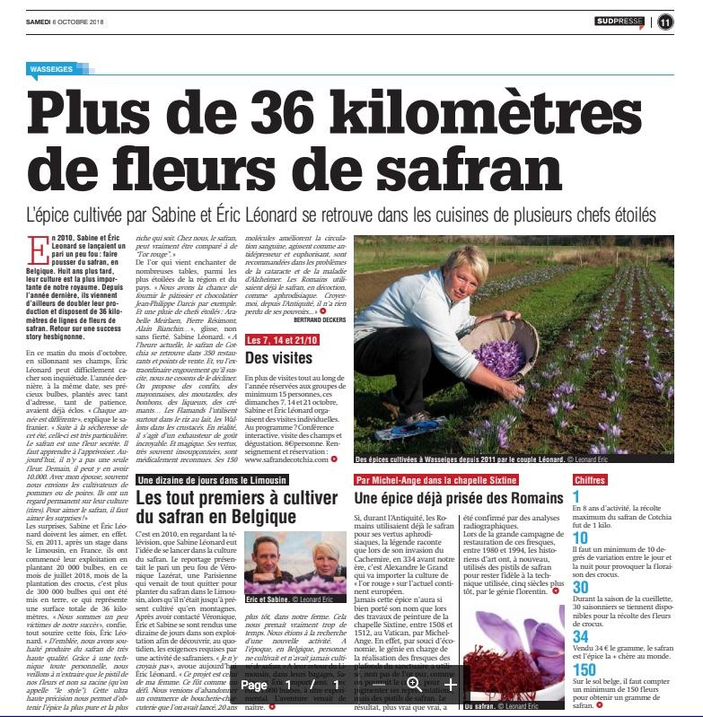 Journal, La Meuse, Safran, Belgique, Safran de Cotchia, Wasseiges, photos Léonard Eric