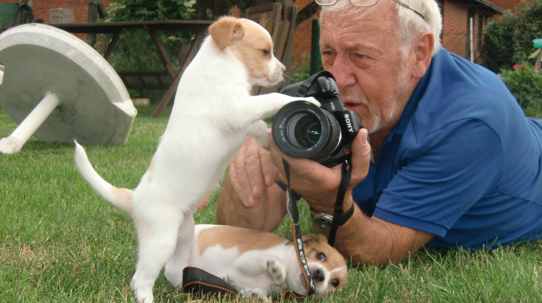 Paul, der Fotograf mit Welpen