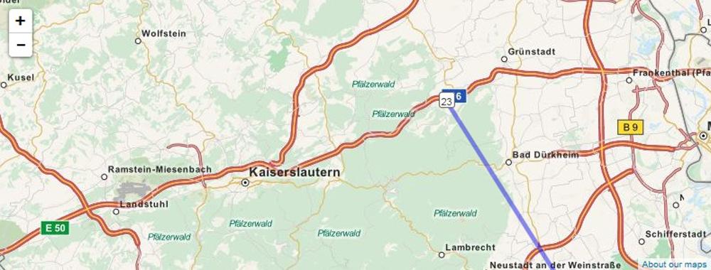 Kurz vor Hockenheim! 394.6 Km
