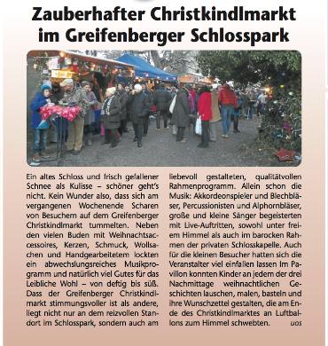 Kreisbote Pressebericht Adventsmarkt im Schlosspark Greifenberg 2012