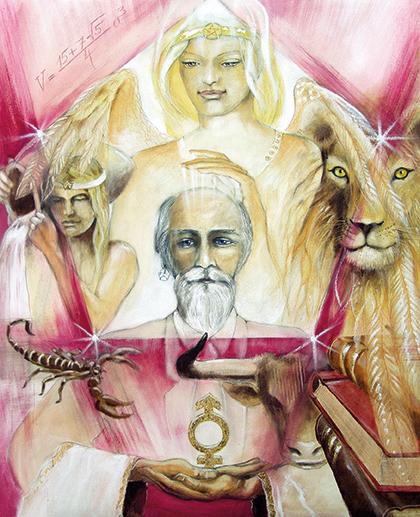 Der spirituelle Lehrer (ehemals Hohepriester) gemalt von Jopie Bopp, Tarotkarten, Sakis-Tarot