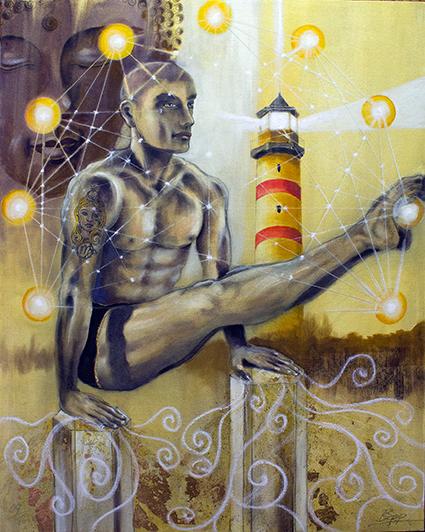 Der Eremit Tarotkarte des neuen Sakis-Tarot, gemalt von Jopie Bopp