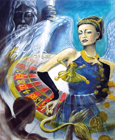 Das Lebensrad / Sakis-Tarot, gemalt von Jopie Bopp, Leinwandbild Tarotkarte