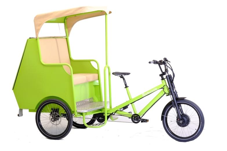 e-Cargobike / Lastenvelo Radkutsche Musketier mit Rikschaaufbaute