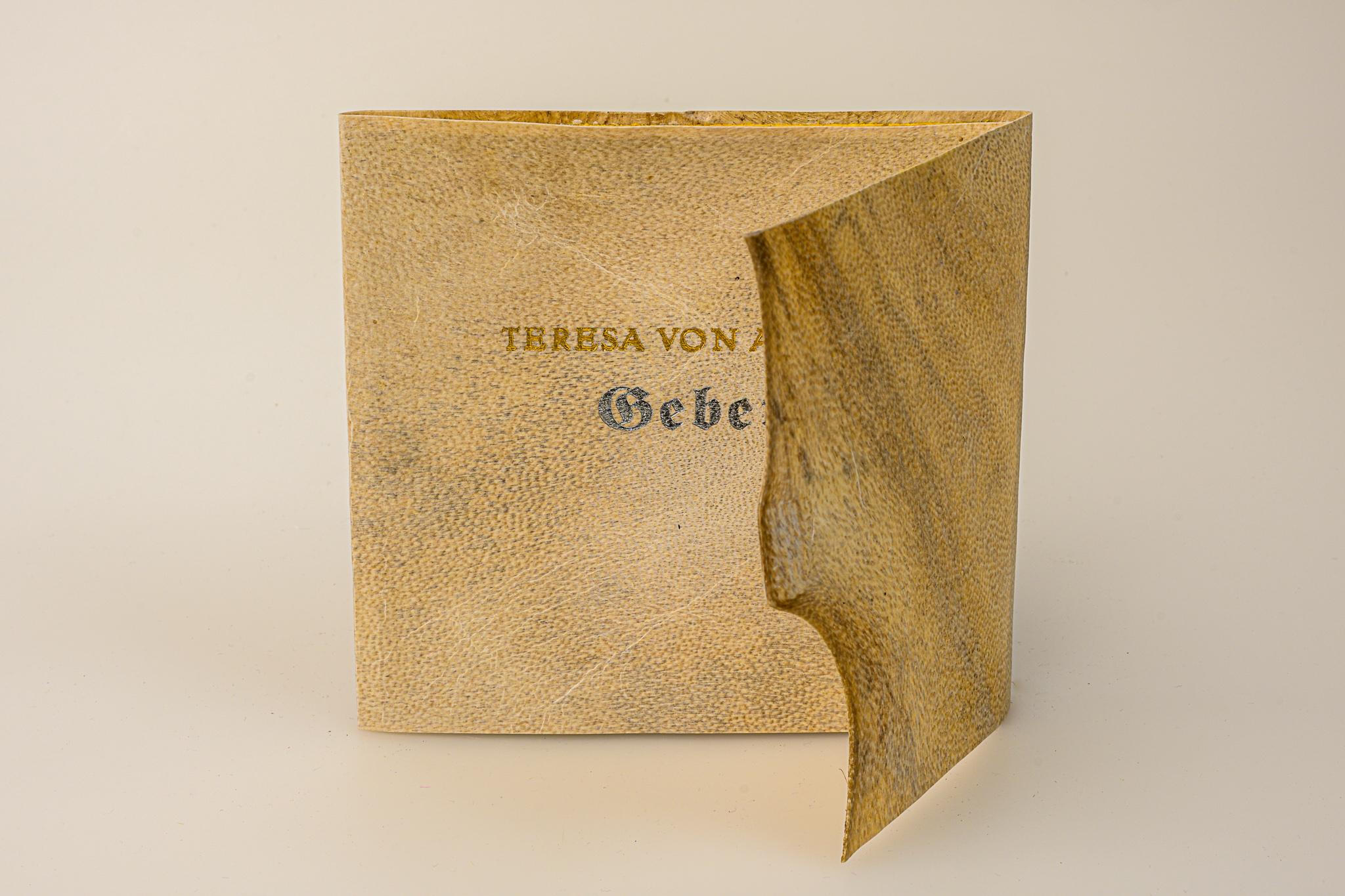 Gebet, Teresa von Avila, Broschur aus Steinbockpergament mit Futteral, Euro 125.-