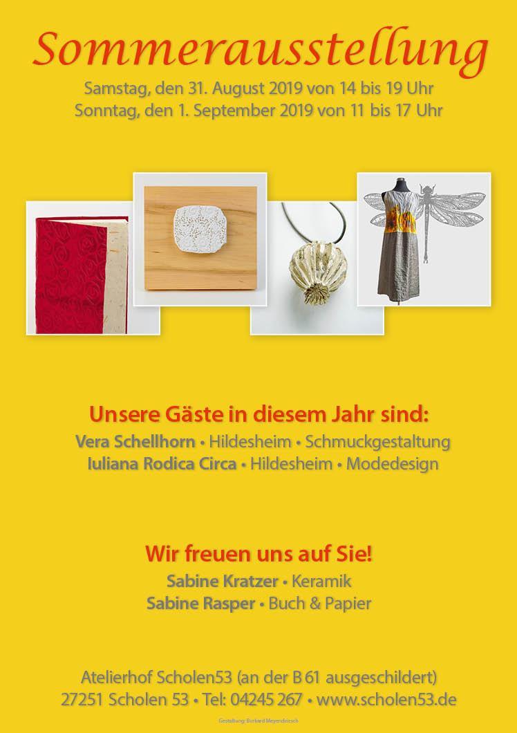 Plakat Sommerausstellung Schmuck Textil Keramik Buchbinden