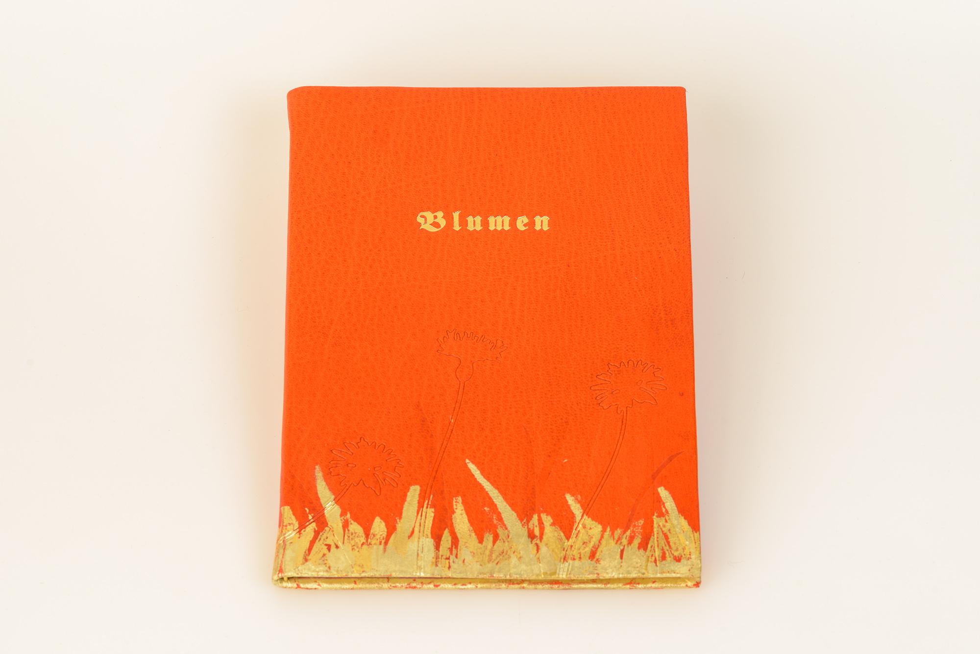 Blumen, Gedichte, illustriert von J.L. Gampp, flexibler Einband aus Hirschleder, bedruckt+vergoldet, Goldtitel, Euro 310.-