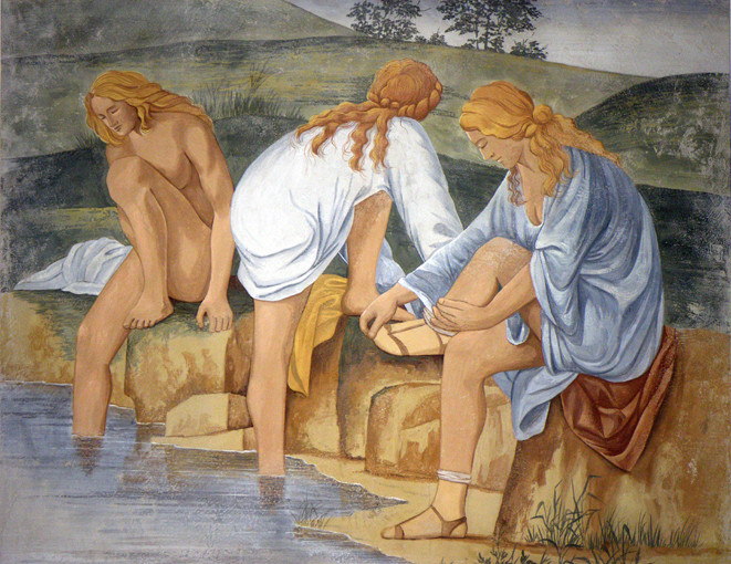 Bathers, inspired by Bernardino Luini