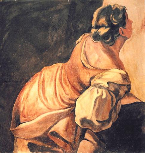 Female figure inspired by Antonio Pellegrini