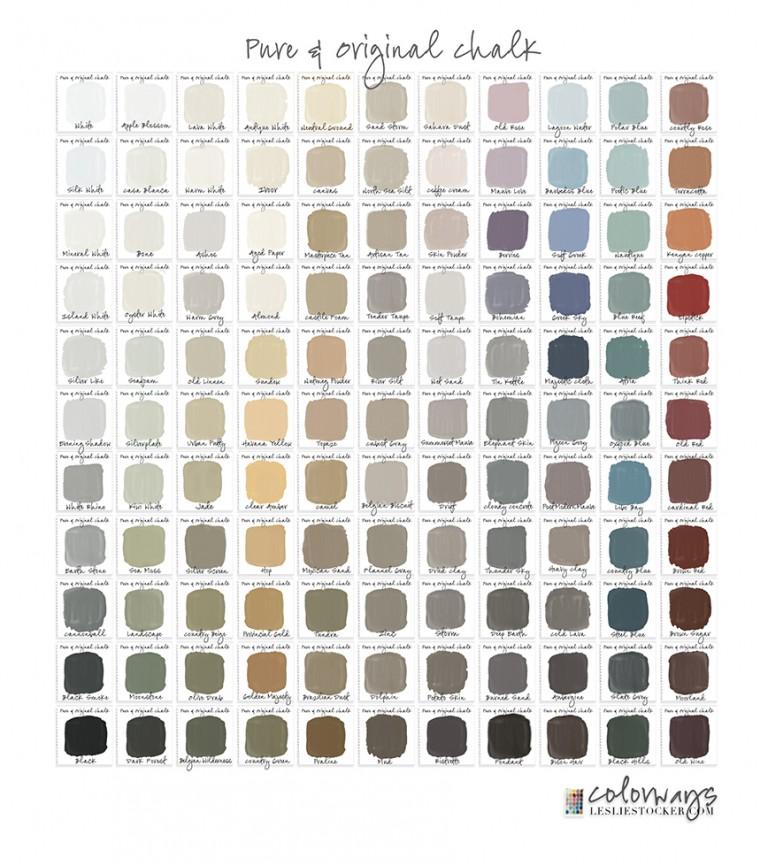 Pure and Original Chalk;  Farbkarte von Leslie Stocker, Colorways