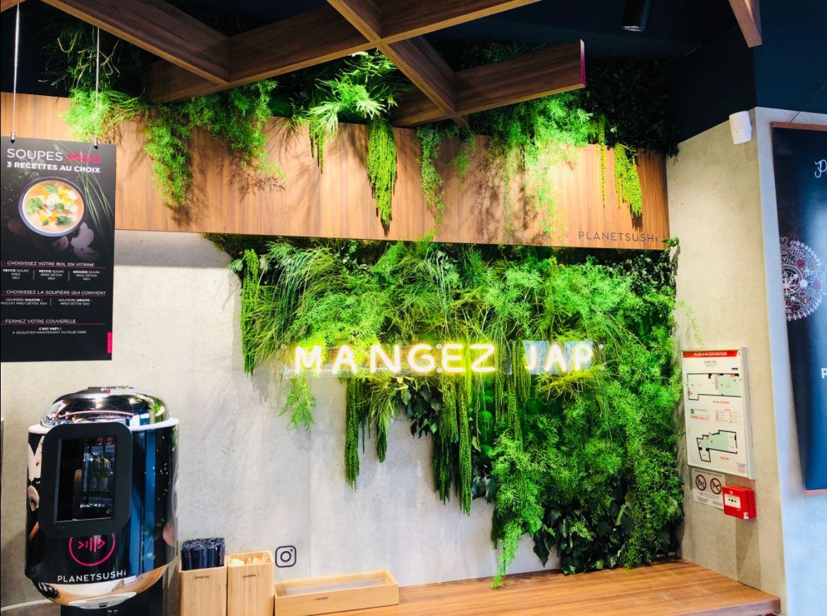 Mur végétal gamme feuillu (PLANET SUSHI)