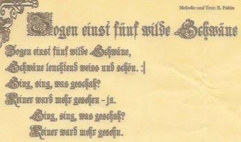 """""""Zogen einst fünf wilde Schwäne"""" von R. Faltin, Danzig ca. 1860er Jahre. Mitgeteilt von Dr. R. Ziemssen"""