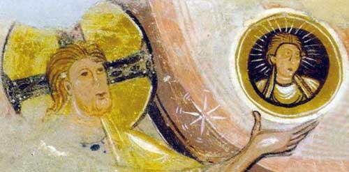 Dieu créant l'homme-soleil. Église abbatiale de Saint Savin sur Gartempe( Vienne). Vers 1100