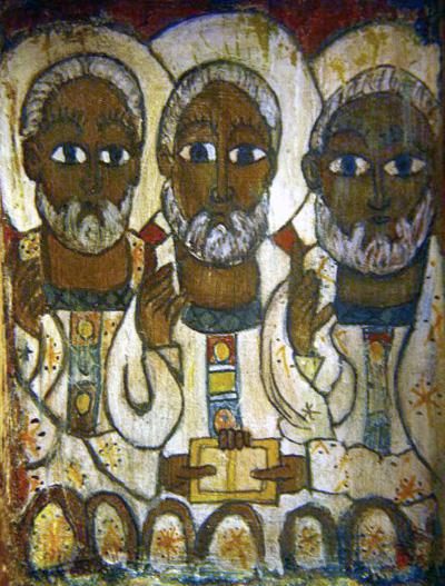 """La Sainte Trinité - Fresque éthiopienne - """"Abba ! Père ! nous fait participer à la vie secrète du Père et du Fils, dans la Présence du Saint Esprit. """""""