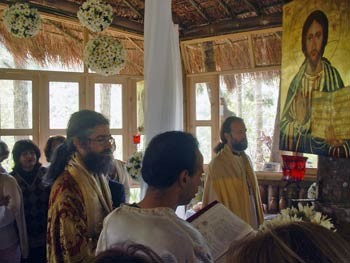 Mgr Martin, père Francisco et père Jean Séraphim