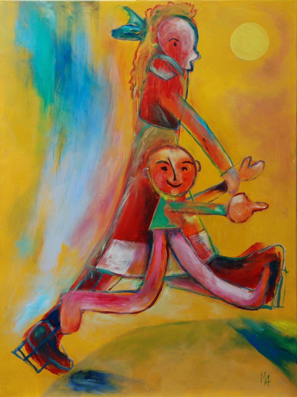 """""""mit Oma Schritt halten"""", Acryl auf Leinwand, 90 x 120 cm"""