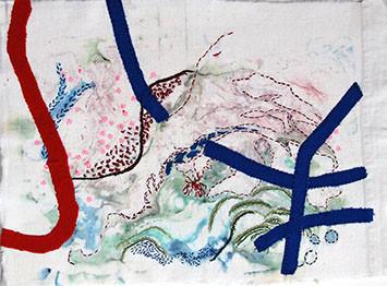 Haikus, Leinen Monotypie bestickt, 40 x 30 cm