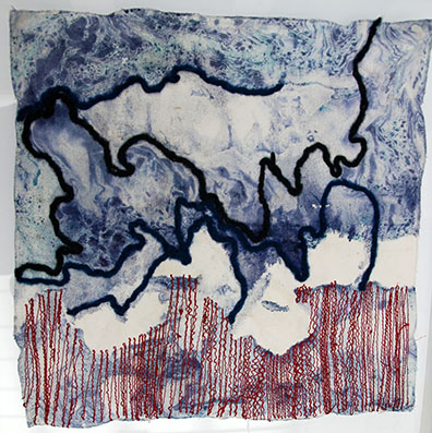 """""""Vorahnung II"""", Monotonie, bestickt, ca. 40x40 cm"""