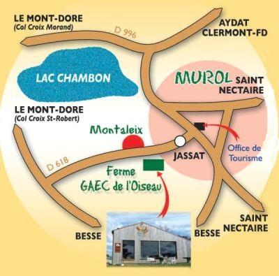 plan d'accès à la ferme du GAEC de l'Oiseau