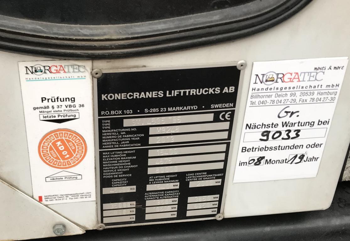 chariot porte container SMV Konecranes SC4535 TB5 2013 leve 45to
