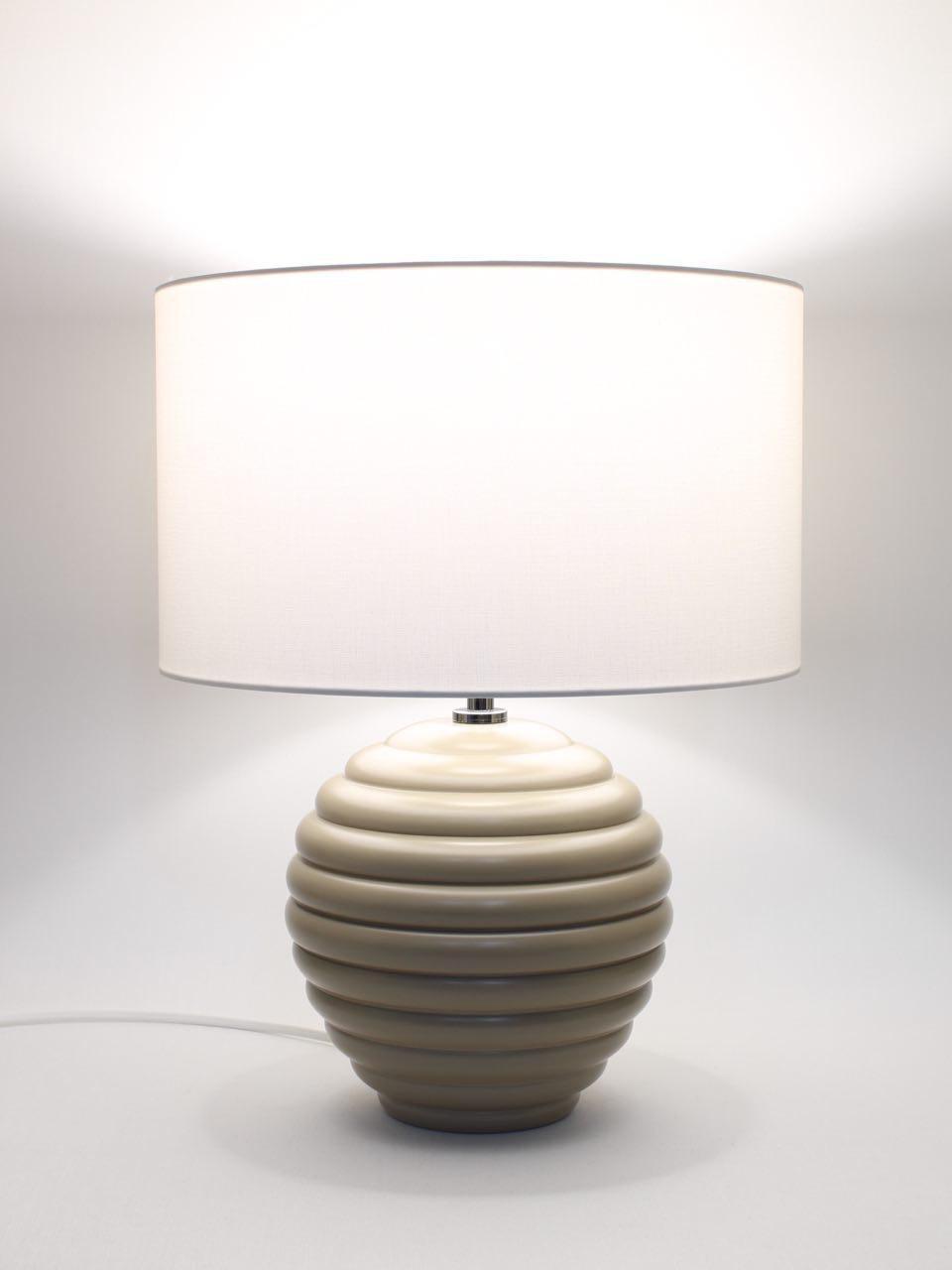 Abat Jour Cilindro abat-jour h.39 cm sfera in legno laccato tortora con paralume cilindro  bianco